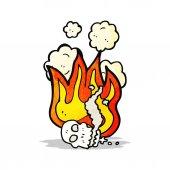 Flaming skull cartoon — Stock Vector