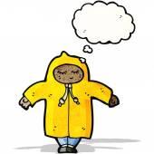 Cartoon person in raincoat — Stock Vector