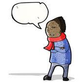 Person in winter clothes cartoon — Stock Vector