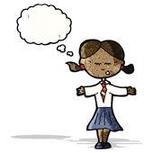 Cartoon clever school girl — Stock Vector