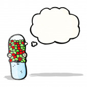 Cartoon antibiotic pill character — Stok Vektör