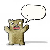 Funny cartoon bear with speech bubble — Stock Vector
