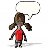 Cartoon girl with speech bubble — Διανυσματικό Αρχείο