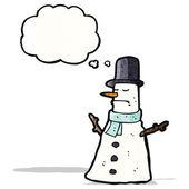 Cartoon snögubbe i hatt — Stockvektor