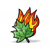 Cartoon burning leaf — Stock Vector