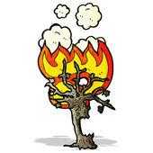 Quema de dibujos animados de árbol spooky — Vector de stock