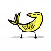 Cartoon yellow bird — Stok Vektör