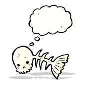 Spooky fish bones cartoon — Stock Vector
