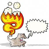 Gato con cola en llamas — Vector de stock