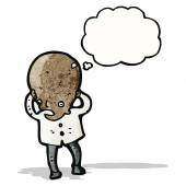 Cartoon big brain scientist — Stockvector