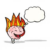 Happy brain on fire — Stock Vector