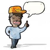 Cartoon boy with speech bubble — Stock Vector