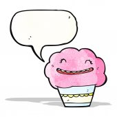 Cartoon cupcake with speech bubble — Vector de stock