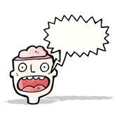 Dibujos animados cabeza cerebro abierto — Vector de stock