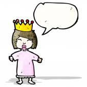 Cartoon spoiled little princess — Stock Vector