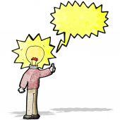 Cartoon idea light bulb man — Vetorial Stock