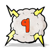 Cartoon thunder cloud with number nine — Stock Vector