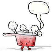 Red hot saucepan cartoon — Stock Vector