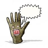Scary shrieking hand monster — Stock Vector