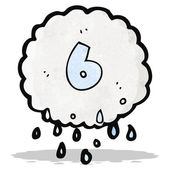 Cartoon raincloud with number six — Stockvektor