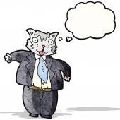 Uomo d'affari di cartone animato gatto grasso — Vettoriale Stock
