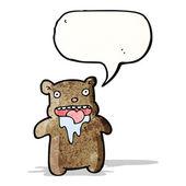 Cartoon drooling bear — Stock Vector