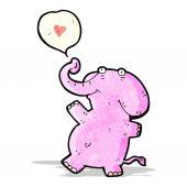 Kreslený slon s láskou srdce — Stock vektor