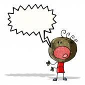 Cartoon complaining doodle man — Stock Vector