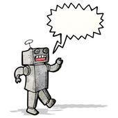 Cartoon funny robot with speech bubble — Stock vektor
