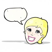 Cartoon grinning advert girl — Stock Vector