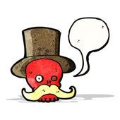 Cráneo de dibujos animados en el sombrero — Vector de stock