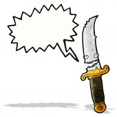 Grinning knife cartoon character — Stock Vector