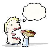 Cartoon greedy man eating junk food — Stock Vector
