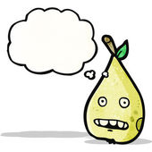Cartoon pear with thought bubble — Stock Vector