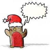 Cartoon robin in santa hat — Vettoriale Stock