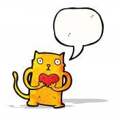 愛の心で漫画猫 — ストックベクタ