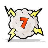 σύννεφο βροντής κινουμένων σχεδίων με αριθμό 7 — Vector de stock