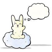 Cartoon rabbit on cloud — Vector de stock