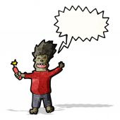 Cartoon man with dynamite — Stock Vector