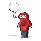 Teenager in hooded sweatshirt cartoon — Vetor de Stock
