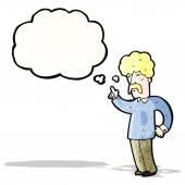 Cartoon snor man met idee — Stockvector