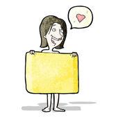 Cartoon woman behind towel — 图库矢量图片