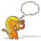 Tigre del fumetto con la bolla di pensiero — Vettoriale Stock