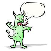 Cartoon devil with speech bubble — Stock Vector