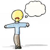 Cartoon man with lightbulb for head — Vector de stock