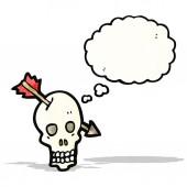 мультфильм череп с стрелкой — Cтоковый вектор