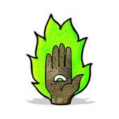 Flaming hand symbol — Vector de stock