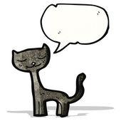 Cartoon black cat with speech bubble — Stock Vector