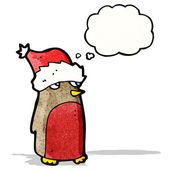 卡通罗宾戴着圣诞帽 — 图库矢量图片