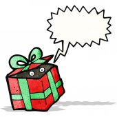 Caja de regalo de la historieta — Vector de stock